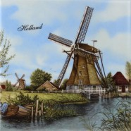 Windmill Boat - Tile 15x15 cm - Color