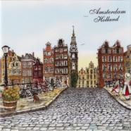 Amsterdamse Grachtenhuizen - Tegel 15x15cm - Kleur