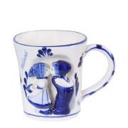 Mokken - Glazen Kussend Paar 3D Mok - Beker - Delfts Blauw