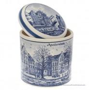 Syrup Waffle Jar Canalhouses 15cm - Delft Blue