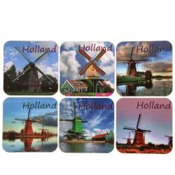 Molen Holland - Kurk Onderzetters - 6 assorti