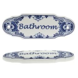 Bathroom Door Sign - Delft Blue