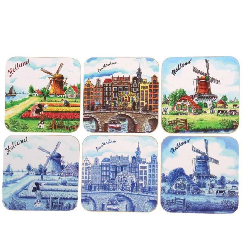 Amsterdam Holland - Cork Coasters - set of 6 assorti
