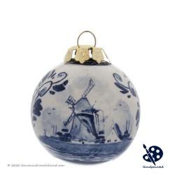 Kerstbal Windmolen 5cm - Handgeschilderd Delfts Blauw