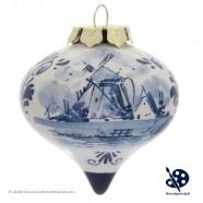 X-mas Dripbal Windmill 6,5cm - Handpainted Delft Blue