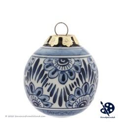X-mas Ball Flower 5cm - Handpainted Delft Blue