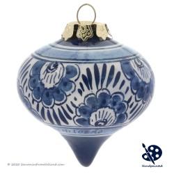 X-mas Dripball Flower 6,5cm - Handpainted Delft Blue
