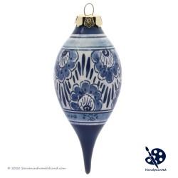 Kerstpegel Bloemen 11,5cm - Handgeschilderd Delfts Blauw
