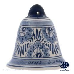 Kerstbel Bloemen 6,5cm - Handgeschilderd Delfts Blauw