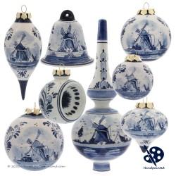 Kerstbel Molen 6,5cm - Handgeschilderd Delfts Blauw