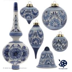 Kerstbal Bloemen 5cm - Handgeschilderd Delfts Blauw