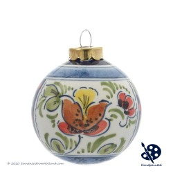 X-mas Ball 5cm - Flowers Holly - Handpainted Delftware
