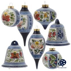 Kerstbal 5cm - Bloemen Hulst - Handgeschilderd Delfts Blauw