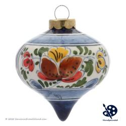Kerstdruppel 6,5cm - Bloemen / Hulst - Handgeschilderd