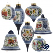 X-mas Dripball 6,5cm - Flowers / Holly - Handpainted Delftware