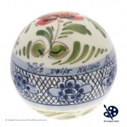 Kerstbal 5cm - Bloemen Ruit - Handgeschilderd