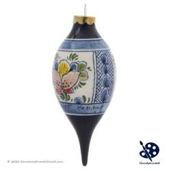 X-mas Dripball 11,5cm - Flowers Diamond - Handpainted Delftware