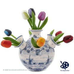 Ronde Tulpenvaas Molen - Handgeschilderd Delfts Blauw
