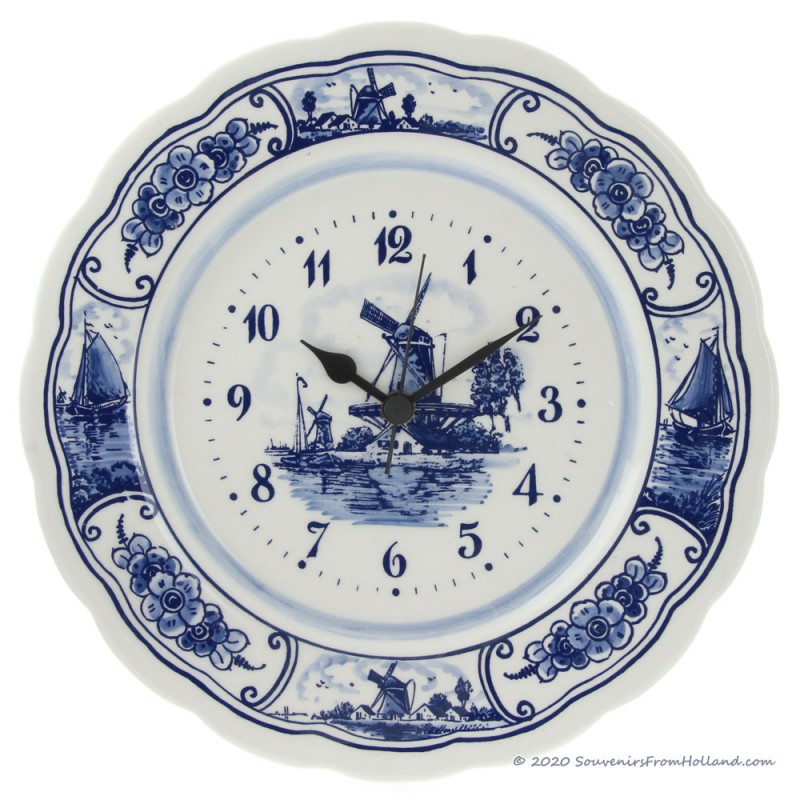 Wallplate Clock Large 28cm - Delft Blue