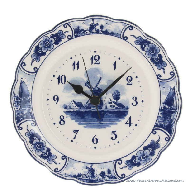Wallplate Clock Small 22cm - Delft Blue