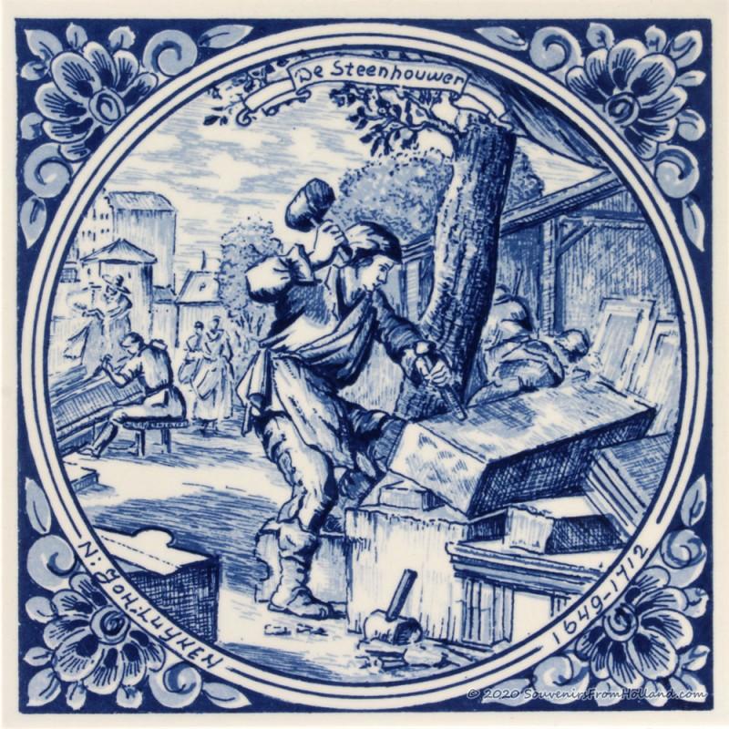 The Stonecutter Stonemason - Jan Luyken professions tile - Delft Blue