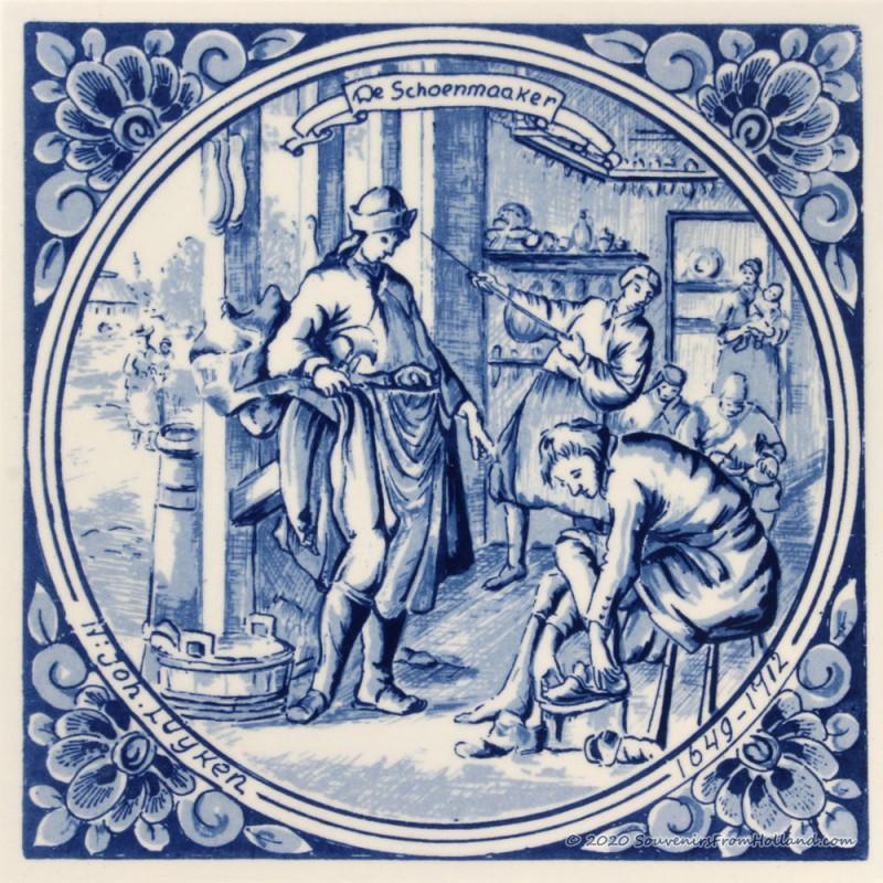 The Cobbler Shoemaker - Jan Luyken professions tile - Delft Blue