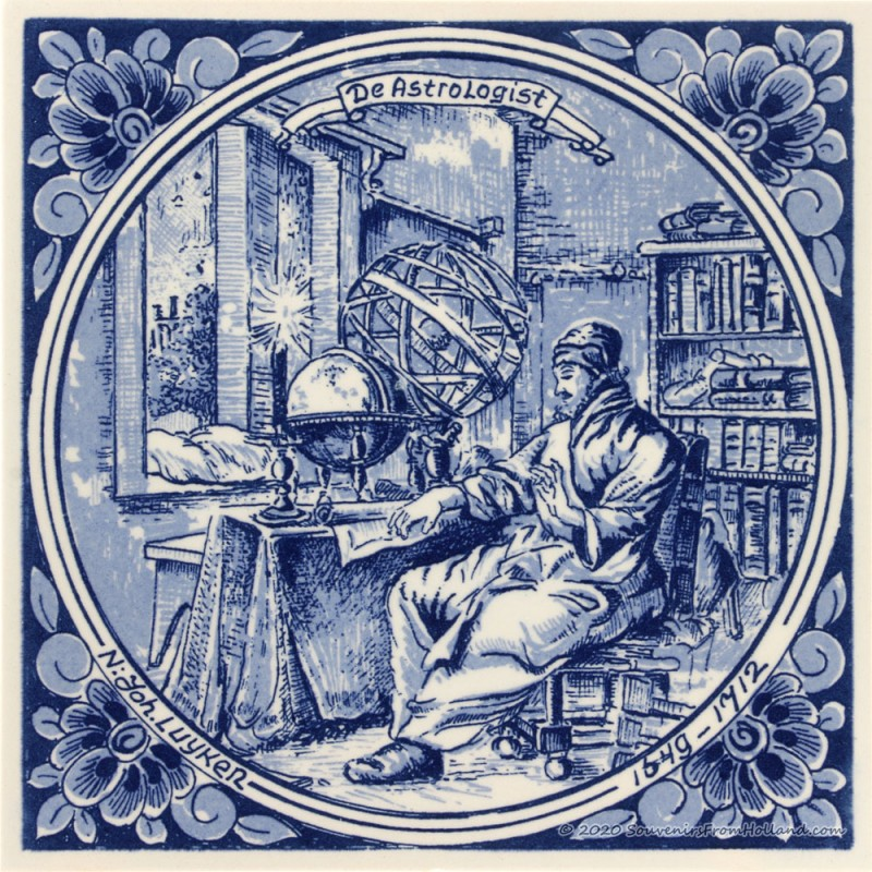 De Astrologist - beroepentegel Jan Luyken - Delfts Blauw