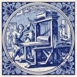 De Plaatdrucker - beroepentegel Jan Luyken - Delfts Blauw