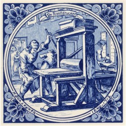 The Copperplate Printer - Jan Luyken professions tile - Delft Blue