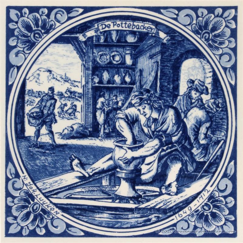 The Potter - Jan Luyken professions tile - Delft Blue