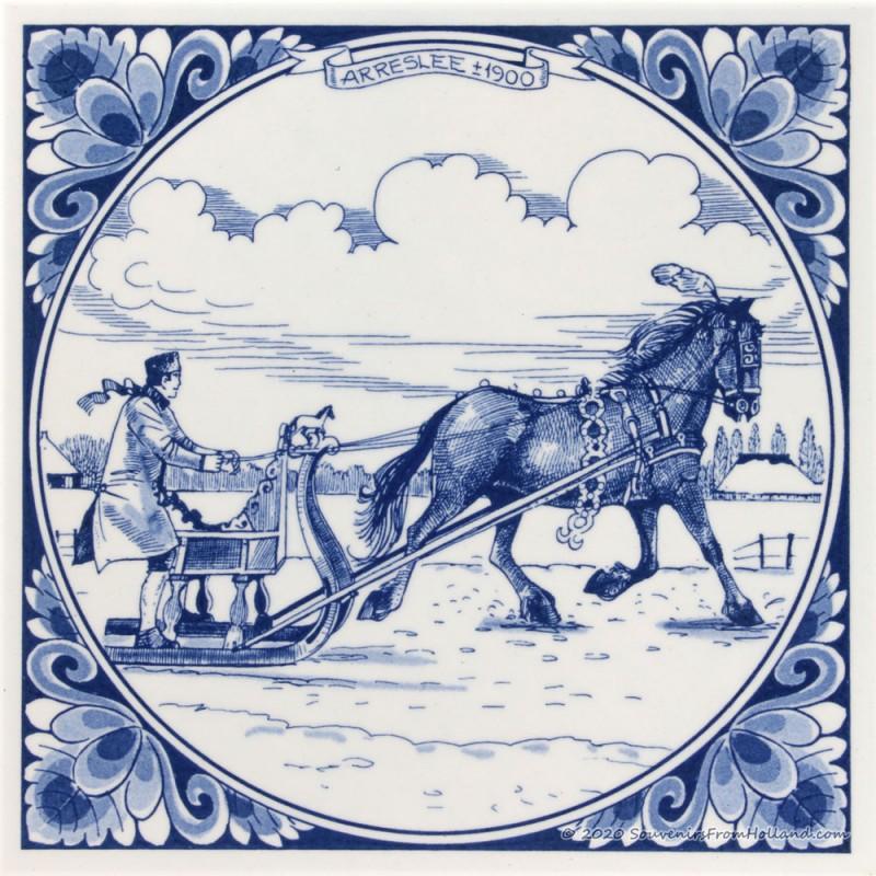Arreslee met paard 1900 - Delfts Blauwe tegel 15x15cm