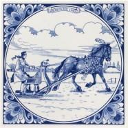 Ride on a Sleigh - Delft Blue tile 15x15cm