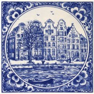 Amsterdam Canal Houses with border - Delft Blue Tile 15x15 cm