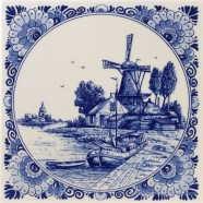 Windmill Boat with Round Border - Delft Blue Tile