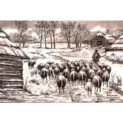 Herd of sheep by Mauve - Sepia Delft Tile Panel - set of 6 tiles