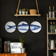 Delft Blue Wall Plate Herring Fish - set of 3 - 25cm