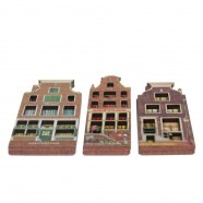 Grachtenhuizen 2D MDF Huis met Lantaarn - Magneet - Grachtenhuis