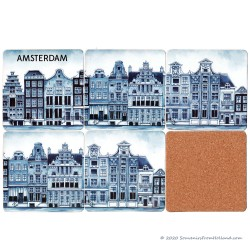 Delft Blue Coasters Canal Houses Amsterdam - set of 6