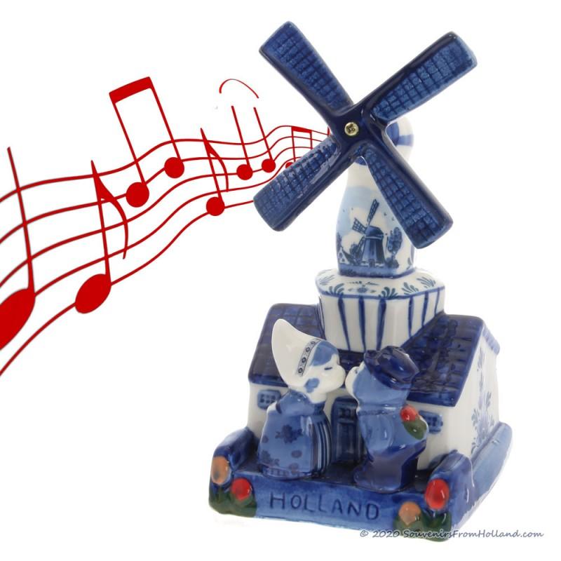 Music Windmill Kissing Couple - Delftware Ceramic