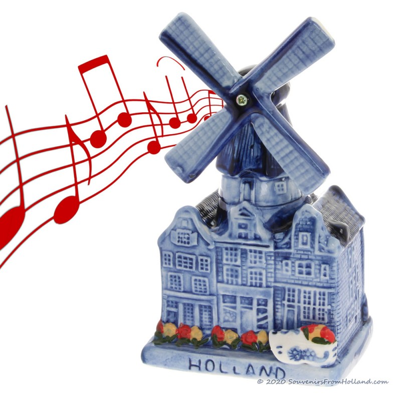 Music Windmill Canal Houses - Delftware Ceramic