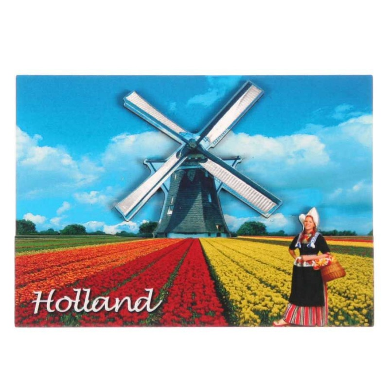 Holland Tulpenvelden Molen - Holland 2D Magneet