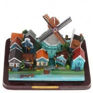 3D miniature Village scene - Dutch Village with Mill