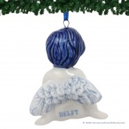Sitting Christmas Angel - Delft Blue X-mas Ornament