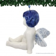 Zittende Kerstengel - Delfts Blauwe Kersthanger