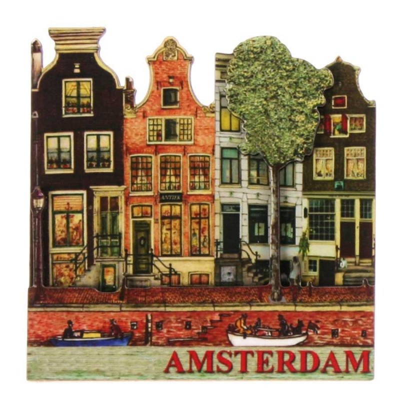 Amsterdam Canals 4 Houses - 2D Magnet