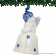 Christmas Angel on Bell A - Delft Blue X-mas Ornament