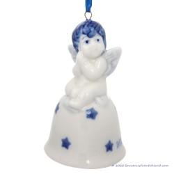 Kerstengel op Kerstbel B - Delfts Blauwe Kersthanger