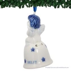 Christmas Angel on Bell B - Delft Blue X-mas Ornament