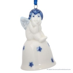 Christmas Angel on Bell C - Delft Blue X-mas Ornament