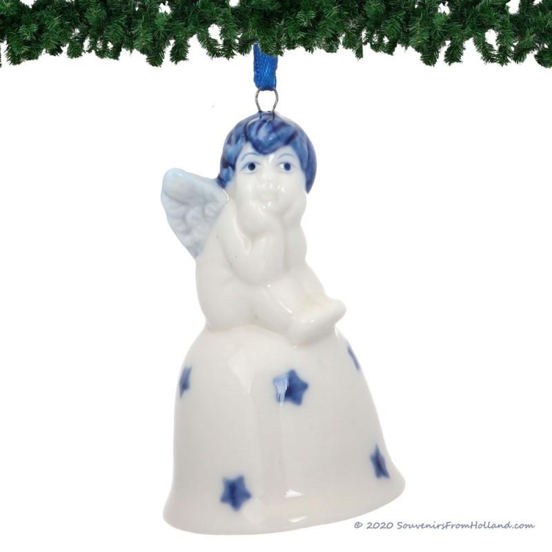 Kerstengel op Kerstbel C - Delfts Blauwe Kersthanger